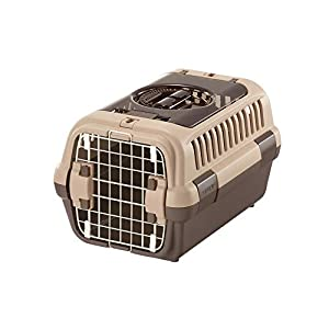 Richell Double Door Pet Carrier Small, Travel Carrier for Small Dog and cat, Soft Tan/Brown, Model Number: 80019