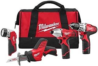Milwaukee 2498-24 M12 Cordless Lithium-Ion 4-Tool Combo Kit