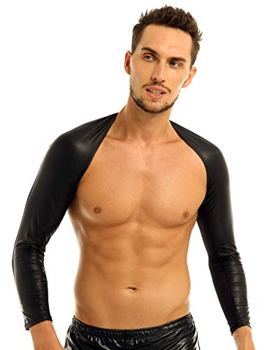 iEFiEL Man's Breathable Faux Leather Clubwear Hollow Long Arm Sleeves Open Front Shrug Black Mesh S