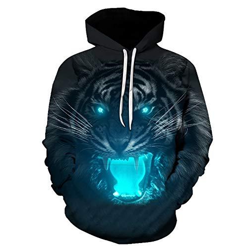 Sweat Capuche 3D Imprimé Garçon, Unisexe 3D Nouveauté Hoodies Rugissant Blu-Ray Tiger Motifs Graphiques Imprimer Hoodies Pull Sweat Poches Mode Outwear Vêtements de Sport