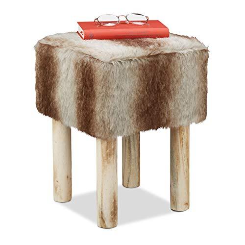 Relaxdays Fellhocker, eckig, rustikal, Deko Hocker Kunstfell, Sitzhocker mit Holzbeinen, HBT 42 x 31 x 31 cm, grau/braun