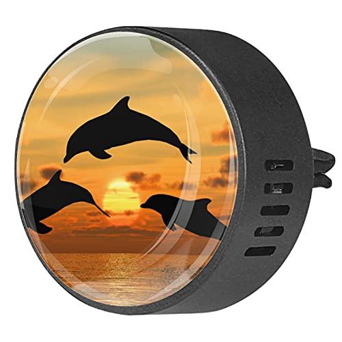 Difusor de aromaterapia para coche,Dolphin Amarillo Puesta de sol ,Clip de ventilación de desodorante de área redonda 2PCS Aceite esencial para difusor de automóvil