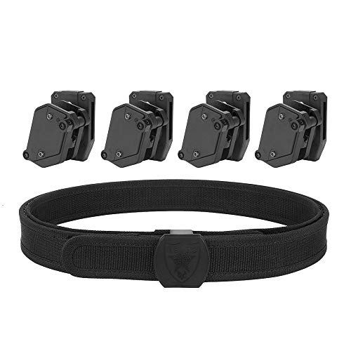KRYDEX IPSC USPSA IDPA 3-Gun Belt and Pouches,Inner & Outer Belt Competition High Speed 4 X Multi-Angle Speed Pistol Magazine Pouch Mag Holster
