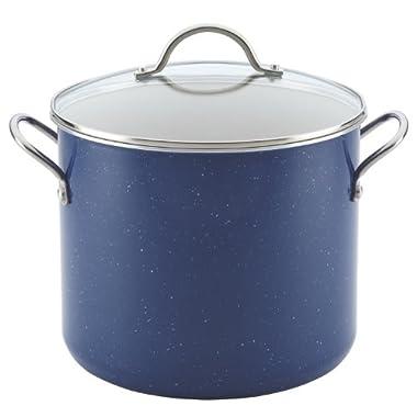 Farberware New Traditions Speckled Aluminum Nonstick 12-Quart Covered Stockpot, Blue