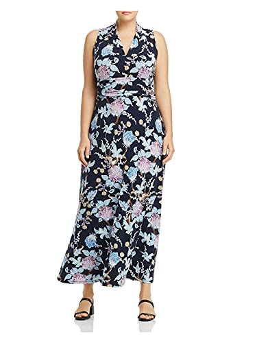 Vince Camuto Womens Navy Floral Sleeveless V Neck Maxi Dress Size 3X