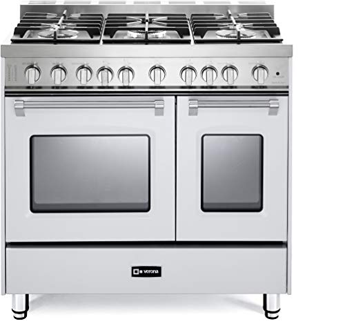 Verona Prestige Series VPFSGG365DW 36 inch. All Gas Range 5 Sealed Burners Double Oven Convection Storage Drawer True White
