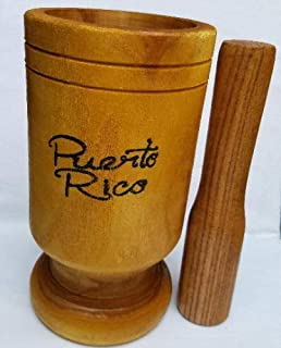 Incense 07 Puerto Rico Tall Size Wood Mortar & Pestle Pylon Pilon Madera - Boricua Rican