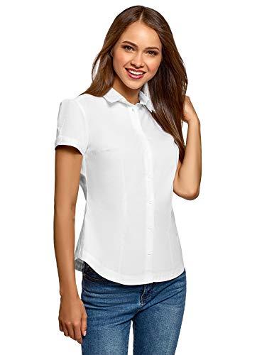 oodji Ultra Mujer Camisa de Algodón de Manga Corta, Blanco, ES 38 / S