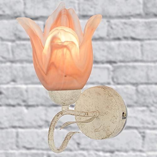 WYQSX Retro Aplique Pared Lámpara de Noche, Rosado Pantalla de Vidrio Lámpara de Pared, Base de Blanco Metal Luz Nocturna, Dormitorio Hotel Pasillo Sala de Estar E14 Luces de Pared