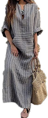 HX mode damer linne bomull klänning plus size tunika kaftan klänning ledig lös klänning långärmad klänning