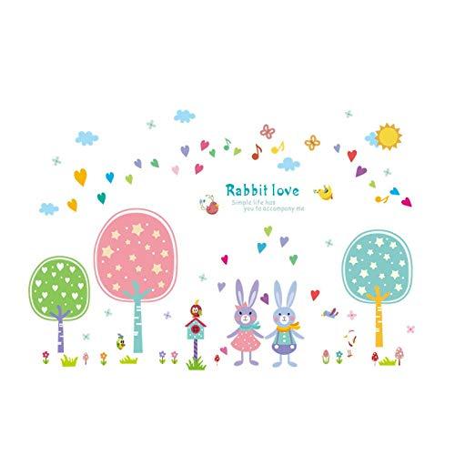 Pegatinas de pared de dibujos animados de color Animal Conejo flores y...