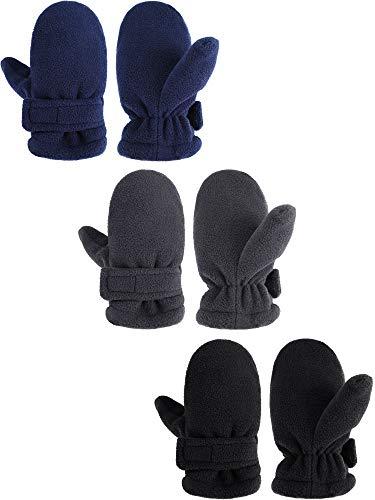 3 Pairs Kids Winter Mittens Kids Windproof Fleece Warm Gloves...