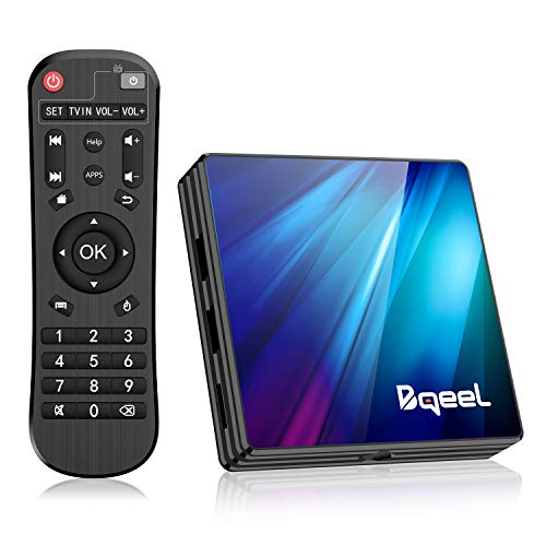 Bqeel Android TV Box Smart tv Box R1 PLUS/4G+64G/ Android 9.0 TV Box mit RK3318 Quad-Core 64bit Cortex-A53/ unterstützt WiFi 2.4G/5.0G /BT 4.0/ 4K/USB 3.0/ TV Box 4K Android Box