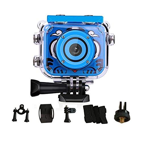 Cámara subacuática 1080P HD digital cámara de vídeo subacuática cámara de acción recargable cámara de acción impermeable cámara de vídeo para regalo de cumpleaños (azul)
