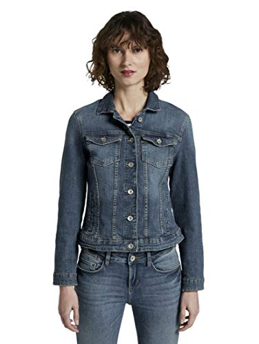 TOM TAILOR Damen Jacken Jeansjacke Used Dark Stone Blue Denim,L