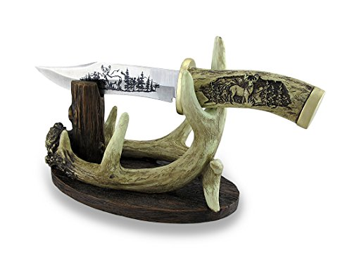 Carved Look Handle Decorative Deer Knife w/Antler Display Stand