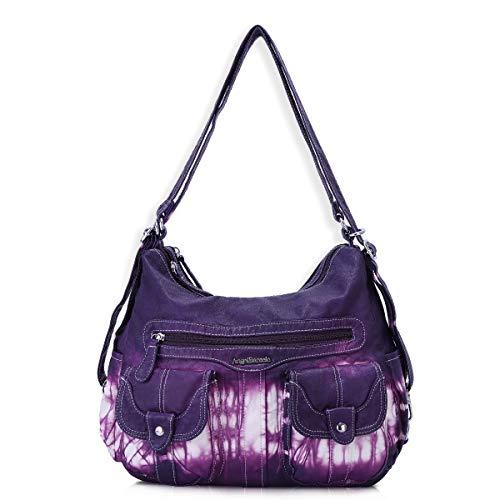 Angel Barcelo Frauen Multifunktionale Handtasche aus weichem Leder Geldbörsen Schulter Hobo Rucksack Umhängetasche mit Tasche Z-Lila