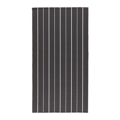 SOFTEN/ラグ 平織り/ブラック/ホワイト(サイズ80x150 cm)[イケア]IKEA(20225503)