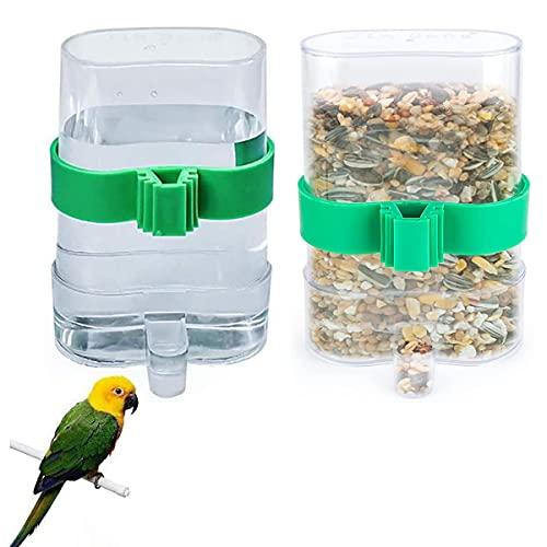Dingzing 2 Piezas Comedero Automático de Semillas para Pájaros Dispensador De Agua Jaula De Pájaros Alimentador De Pájaros Comedero de Pájaros para Periquitos, Loros, Cacatúas
