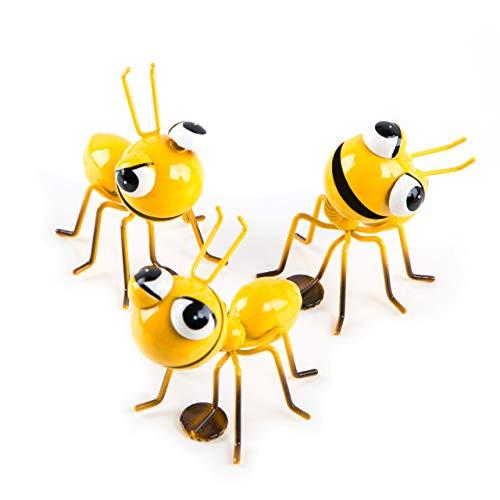 Logbuch-Verlag 3 Deko Ameisen gelb mit Magnet - Verpackung für Geldgeschenk Geldhalter Geld verpacken Dekomagnet Tier Figur
