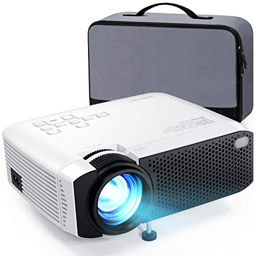 Beamer APEMAN Mini Beamer Support 1080P Full HD Video Beamer mit Tasche Geräuscharm Projektor LED 60000 Stunden Heimkino,kompatibel mit HDMI,TF,USB iOS,Android Phone Laptop,TV Box AV, VGA projektor