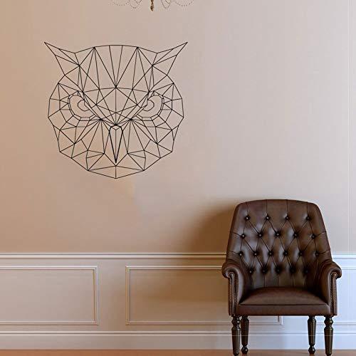 Tianpengyuanshuai Geometrische Wandtattoo Wandkunst Eule Vinyl Aufkleber Geometrische skandinavische Stil Origami Wandkunst-44X42cm
