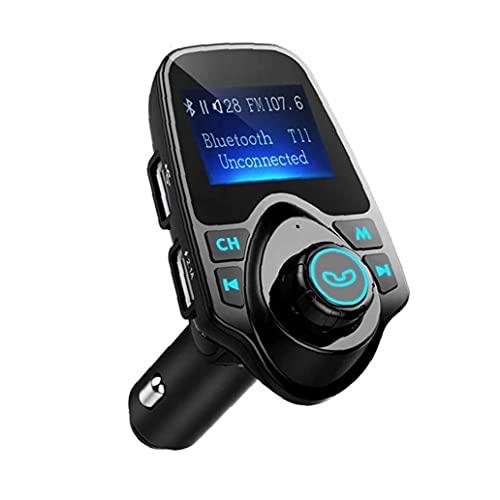 NaiCasy Transmisor FM para el Adaptador de Audio Bluetooth de Radio inalámbrica Coche con Llamando a Mano Libre de la Pantalla LCD del Reproductor de música del Cargador del Coche Negro