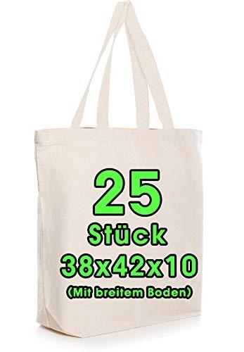 Baumwolltasche 38x42x10 cm 25 Stück mit Bodenfalte Natur unbedruckt, lange Henkel Stofftasche Tragetasche, Baumwollbeutel, Jutebeutel OEKO-TEX® zertifiziert Stoffbeutel Einkaufstasche zum bemalen