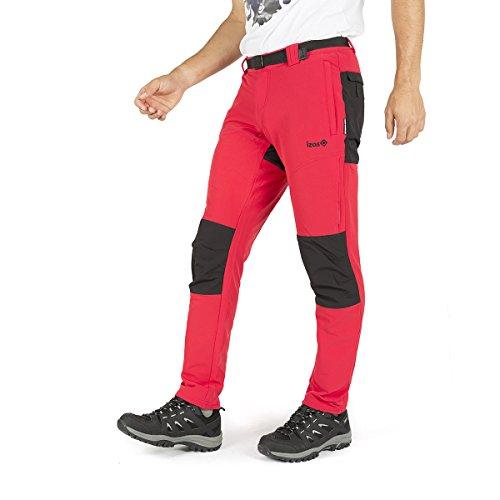 IZAS London Pantalon de Trekking Homme, Rouge Noir, FR : S (Taille Fabricant : S)