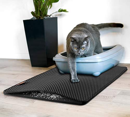 Rudelkönig Katzenklo Matte als Vorleger - 75x55 cm - Praktische Katzenstreu Matte für Katzentoiletten - Wasserabweisende Katzenmatte für mehr Hygiene & Sauberkeit