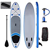Lhlbgdz Tabla de Surf Inflable de 10 pies Surf Stand Up Paddle Board iSUP Wakeboard Sup Surf Board Bodyboard con Mochila de Paleta,Azul