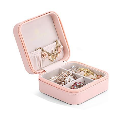 ZRJ Caja para Joyas Caja de joyería para Mujer Organizador de joyería Maquillaje Cosméticos Caja de joyería Caja con Cremallera portátil Cajas (Color : Pink)