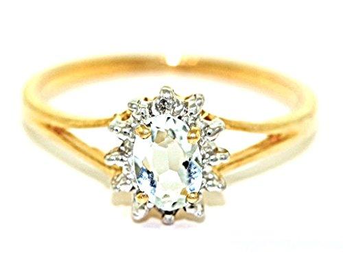 Marzo Birthstone Anillo–Aguamarina en 14K oro amarillo o 14K oro blanco