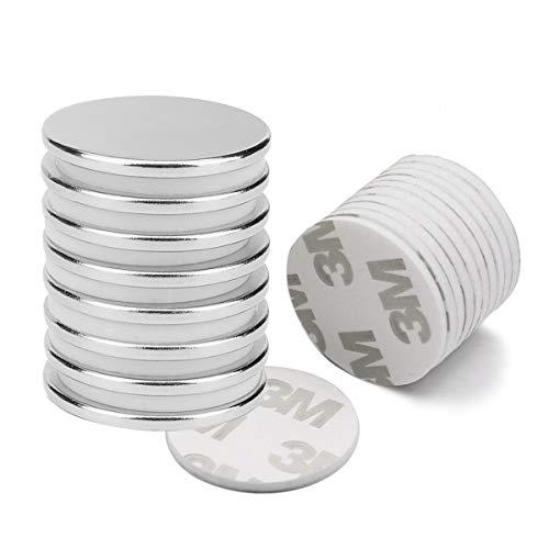 8 Stück Neodym Magnete, Seltenerdmagnete mit 10 Stück Selbstklebende, rund & extra stark Magnete für Fotos, Whiteboard, Kühlschrank, Magnetstreifen, Magnettafel, Fotoseil, Basteln (Magnete 8PC)