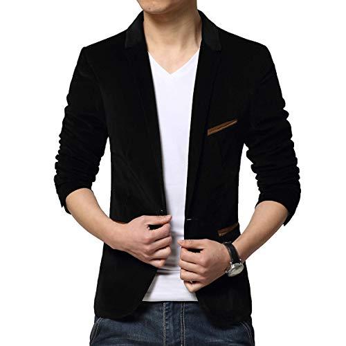 Hombres Slim Fit manga larga Blazer Trajes Solid Pana Abrigo Formal Cena Trajes Chaqueta Tamaño M-3XL, Negro, XL