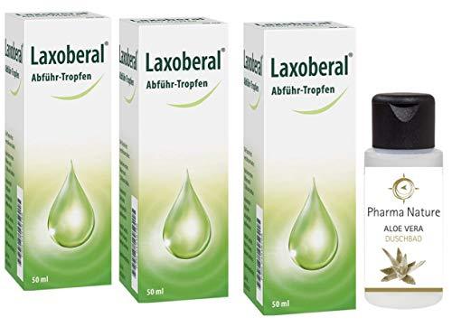 Laxoberal Abführ-Tropfen 50ml - 3 x 50 ml Sparset inkl. einer pflegenden Handcreme o. Duschbad von Pharma Nature