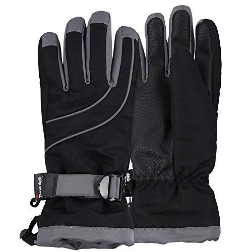 Womens Warm Winter Waterproof Thinsulate Snow Gloves (Black, Medium/Large)