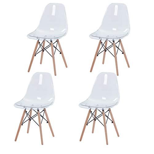 GrandCA HOME Set di 4 Sedie,Sedie da Pranzo Sedia da Ufficio Design Nordico Sedia in Stile retrò (Trasparente-4)