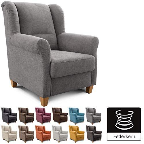 Cavadore Sessel Finja mit Federkern / Ohrensessel im Landhausstil / passender Hocker separat erhältlich / 87 x 102 x 96 / Webstoff Grau