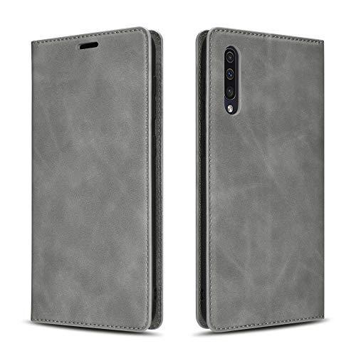 QLTYPRI Funda para Samsung Galaxy A50, funda de piel prémium fina con tarjetero y función atril, compatible con Samsung Galaxy A30S A50 A50S – gris