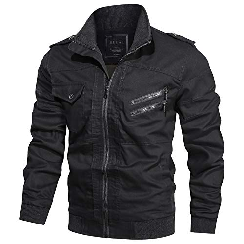 HIJEWE Men's Military Jacket Outdoor Lightweight Cotton Casual Bomber Coat (Black, Large)