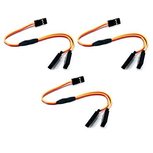 3 Stück 10cm Premium Servo Y Verlängerungskabel V Kabel Y-Kabel Verlängerung für Futaba Robbe JR Graupner Hitec 100mm 26AWG RC von Mr.Stecker Modellbau®