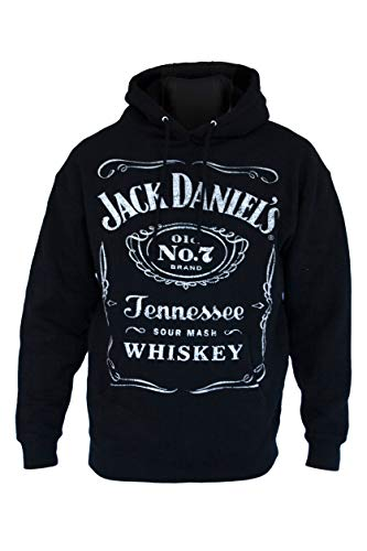 Jack Daniel's Label Pullover Black Hoodie– Medium– Official Product