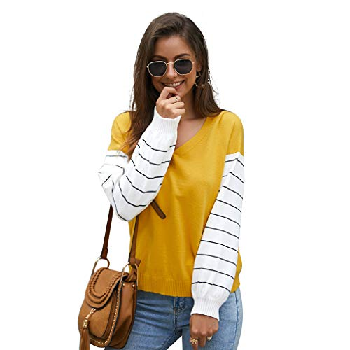 Cheap Womens Tops Round Neck Tee Casual Long Sleeve T Shirts Striple Blouse Yellow