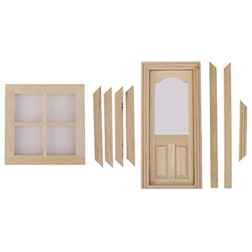 lahomia Juego de 2 Ventanas de Madera de 4 Paneles + Puerta Interna con Marco Casa de Muñecas en Miniatura 1:12