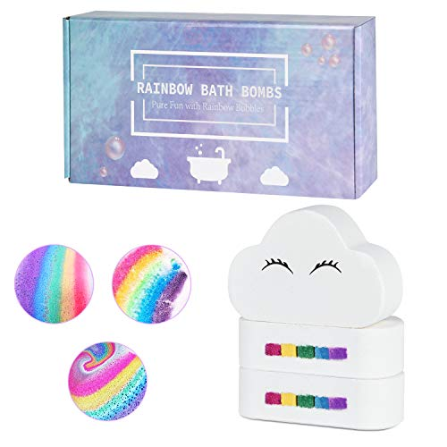 Blahhey 3 Large 7oz Rainbow Bath Bombs for Kids Girls Women, Organic Bath Bombs Gift Set with Natural Essential Oil & Handmade Colorful Bubble for Birthday Mother's Day (3 x 7 oz)