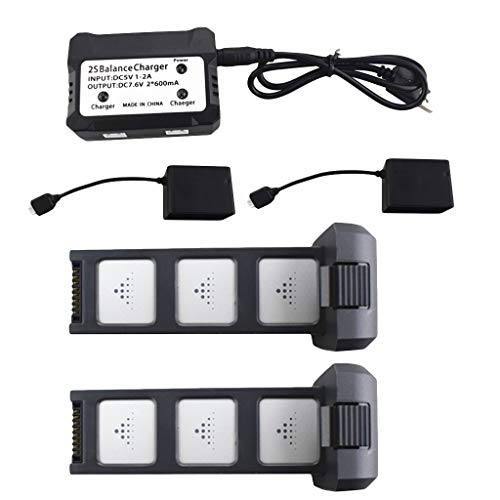 Luccase 2 IN 1 Schwarz Ladebox Kit 2 Stücke 7,6 V 3400 mAh Batterie Akku 2 in1 Ladegerät Box mit USB-Ladekabel Kompatibel mit MJX B4W D88 EX3 HS550 RC Drone