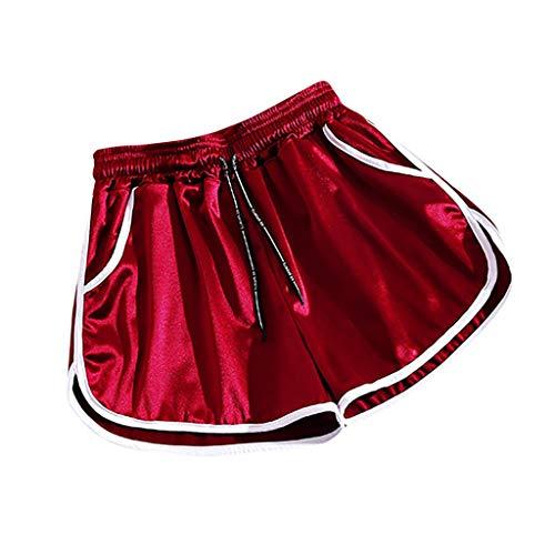 Andouy Damen Sport Shorts Kurze Yoga Hosen Aktiv Yoga Shorts Hose mit Farbig Abgesetzen Rändern(M.Wein-1)