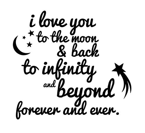 CustomVinylDecor Quote I Love You to The Moon and Back to Infinity and Beyond   Vinyl Wall Decal for Home Decor for Bedroom, Playroom, or Nursery   Small and Large Sizes