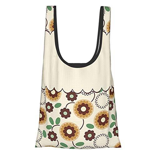Ramo de flores de elegancia floral lindos pétalos de moda Shabby Chic diseño crema arena marrón helecho verde reutilizable bolsas de comestibles, bolsa de compras ecológica
